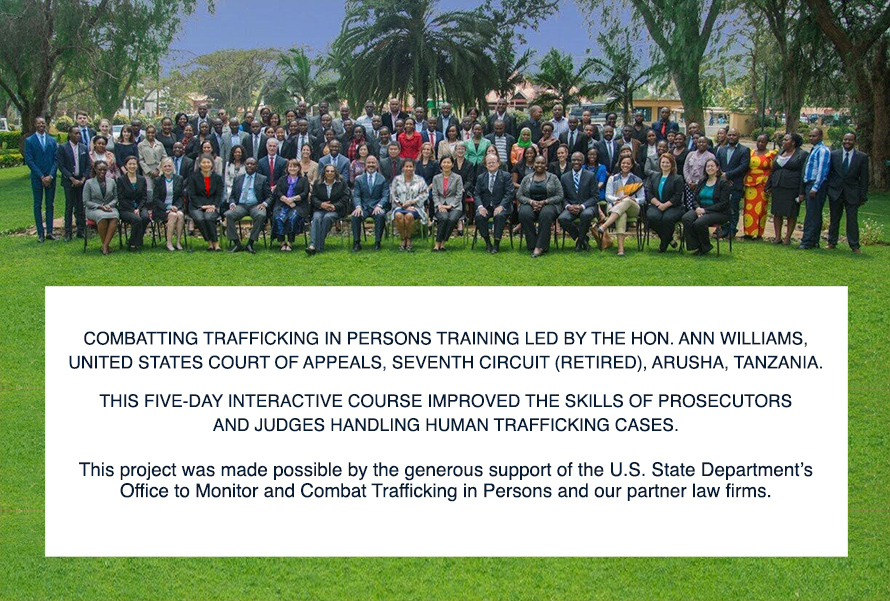 Combatting Trafficking in Persons Training led by the Hon. Ann Williams, United States Court of Appeals, Seventh Circuit (retired), Arusha, Tanzania